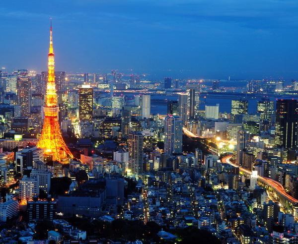 Reise in Japan, Tokyo Tower bei Nacht