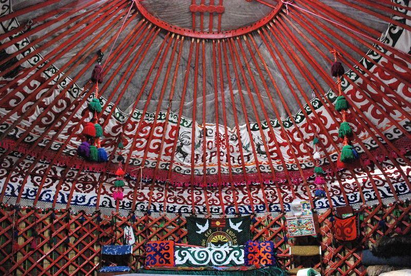 Reise in Usbekistan, Errichtung traditioneller Jurten zeigt die Arbeit der Nomaden in Kirgisistan