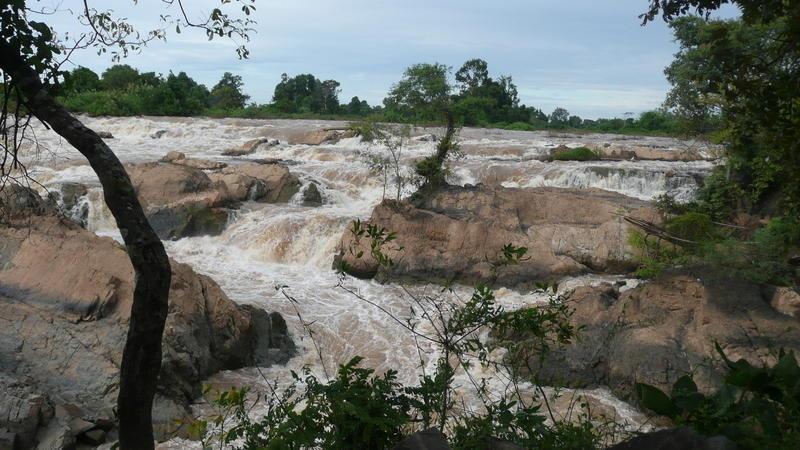 Reise in Laos, Mekonginseln in Südlaos im Abendlicht