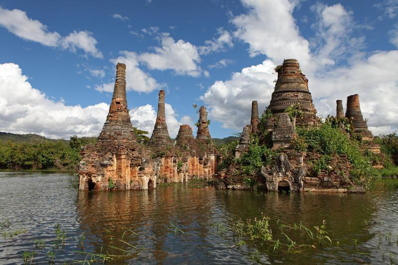 Reise in Myanmar, Der südliche Teil des Inle-Sees, darunter der Samkar-See, ist vom Tourismus noch weitgehend unberührt