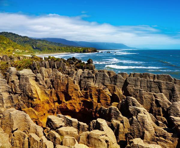 """Reise in Neuseeland, """"Pancake Rocks"""" in Punakaiki"""