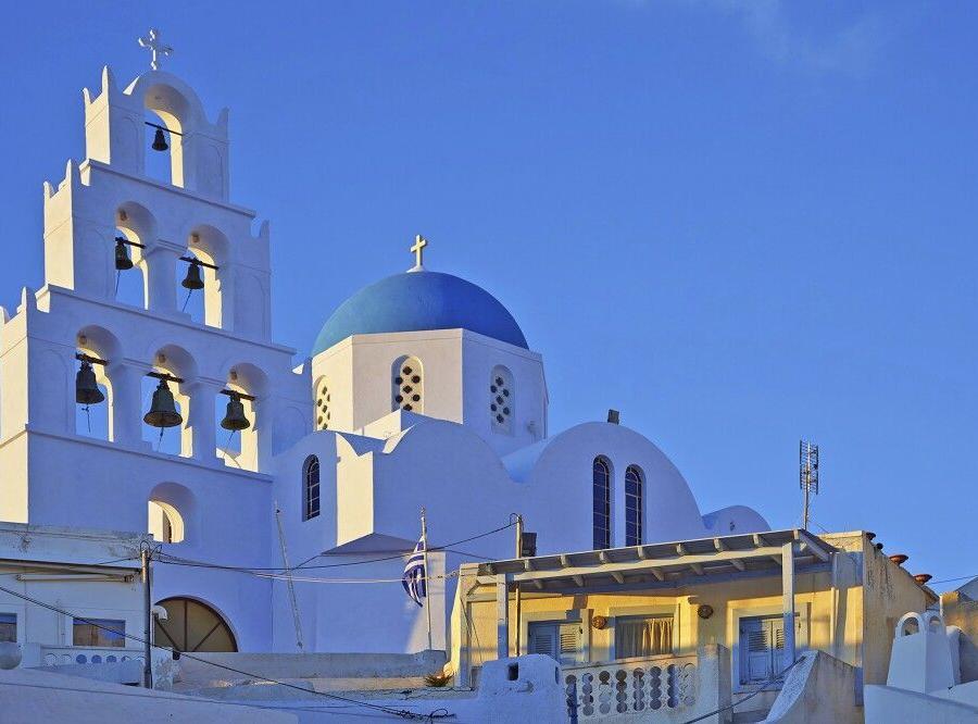 Reise in Griechenland, Santorin im Abendlicht