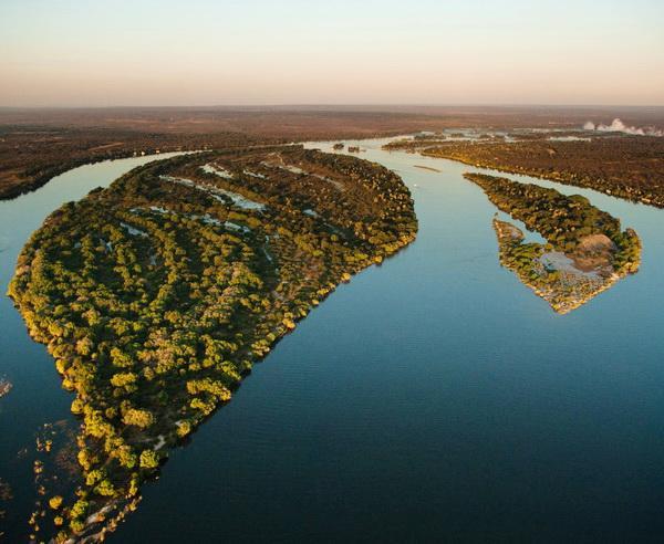 Reise in Simbabwe, Zambezi River aus der Vogelperspektive