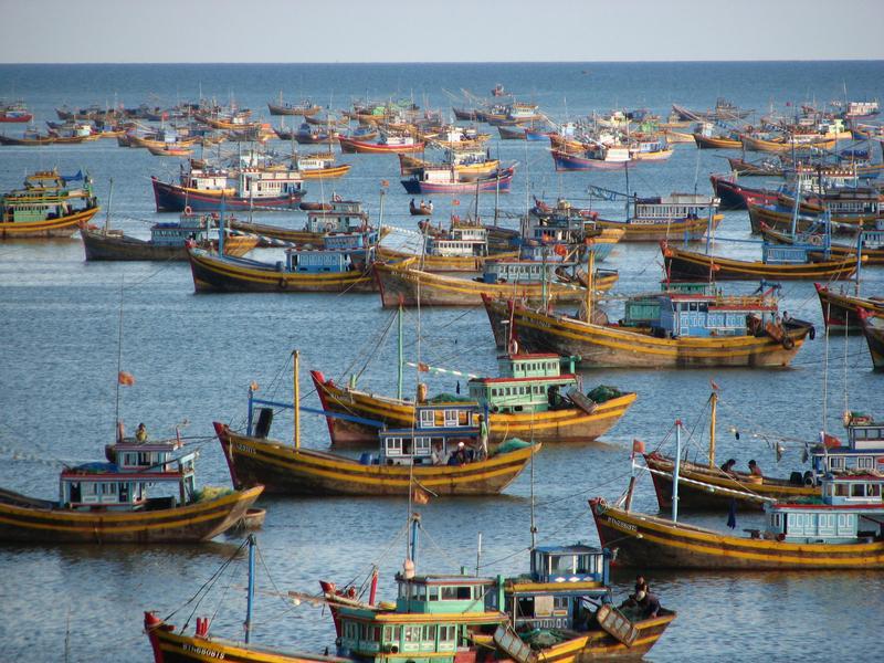 Reise in Vietnam, Boote vor Mui Ne