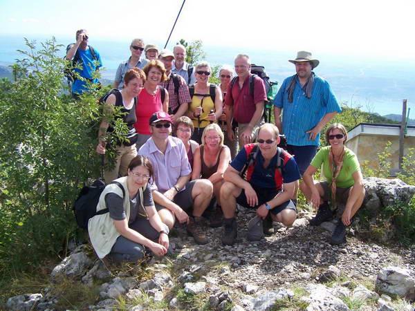 Reise in Kroatien, Gruppenfoto auf dem Gipfel